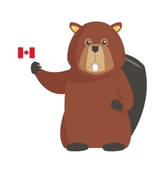 Single beaver with canadian flag icon vector