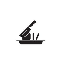 slicing food black concept icon slicing vector image