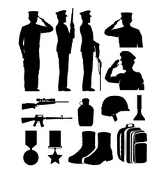 Soldiers and equipment silhouettes vector
