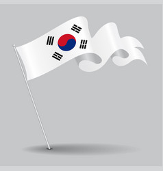 south korean pin wavy flag vector image