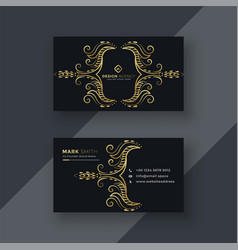 Stylish golden floral decorative business card vector
