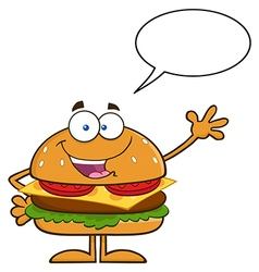 Talking Hamburger Cartoon vector