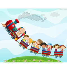 Train and children vector image