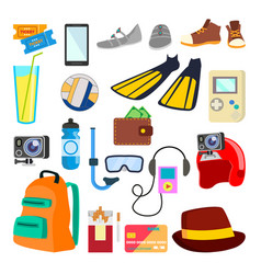 Travel icons summer time holidays vector