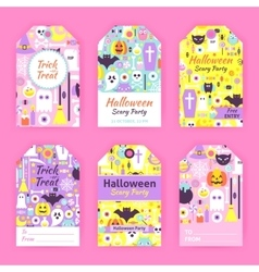 Trendy Halloween Gift Tag Labels vector image