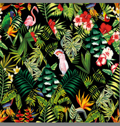 tropical patchwork seamless pattern black vector image