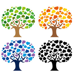 various trees silhouettes vector image