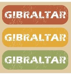 Vintage Gibraltar stamp set vector