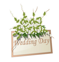wedding plate with text decorated with flowers vector image