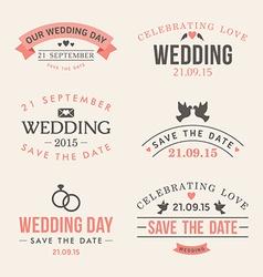 Wedding set label badges stamp and design vector