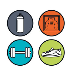 Weight lifting lifestyle icons vector