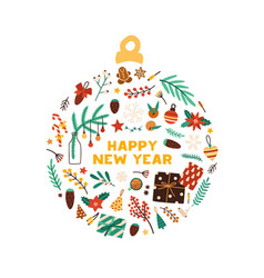 winter holiday symbols flat vector image