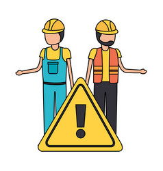 Workers contruction warning sign vector