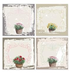 Abstract grunge frame set garden flowers vector