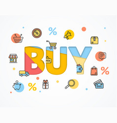buy concept icon flat and paper art vector image vector image