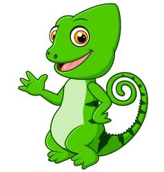 Cartoon funny green lizard posing vector image vector image