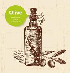 Hand drawn olive vintage background vector image vector image