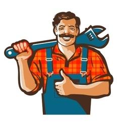 plumbing services logo plumber worker or vector image vector image