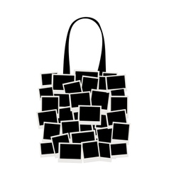 Shopping bag made from photo frames for your vector image vector image