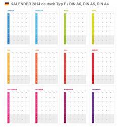 Calendar 2014 German Type 6 vector image vector image