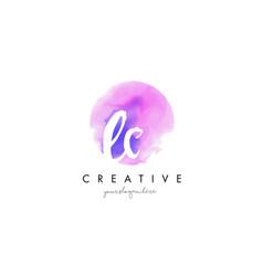 ec watercolor letter logo design with purple vector image
