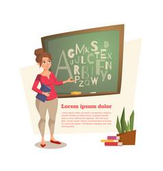 Female teacher shows on the board where the vector