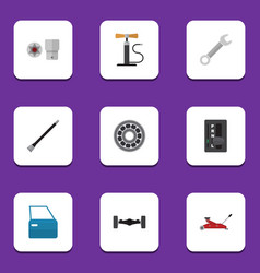 Flat icon service set of lifting automatic vector