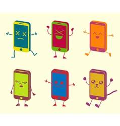 Happy Cute Kawaii Smart Phone Characters vector image vector image