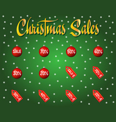 set of red christmas sale and discount paper tags vector image