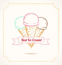 Vintage grunge poster Three ice cream cones with vector image vector image