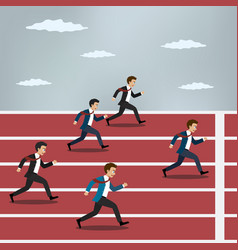 business people running on red rubber track vector image vector image