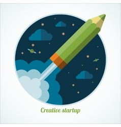 Flat design modern startup concept with starting vector image vector image