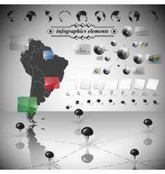 Map of South America different icons and vector image