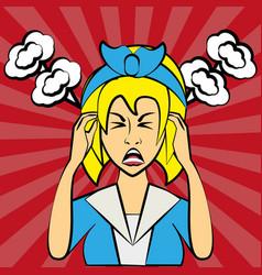 pop art woman angry furious vector image