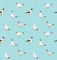 seamless texture with flying seagulls vector image