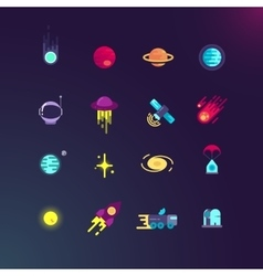 Space and flat icons set vector image vector image