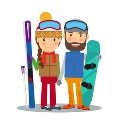 Young couple with ski and snowboard vector image vector image