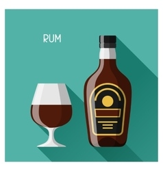 Bottle and glass of rum in flat design style vector image