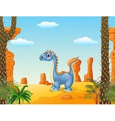 Cartoon cute dinosaur with prehistoric background vector image