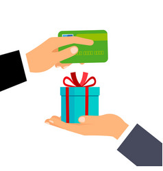 Hands with credit card and gift vector