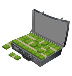 Suitcase with money Case with cash Suitcase with vector image vector image