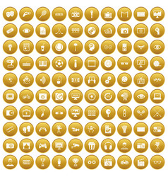 100 video icons set gold vector image