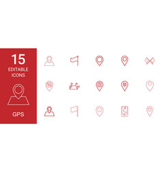 15 gps icons vector image