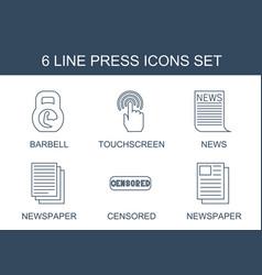 6 press icons vector