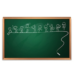 A blackboard with a drawing of people engaging in vector