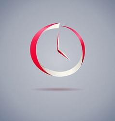 Abstract red clock symbol on gray background vector image