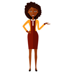 african business woman presents something cartoon vector image
