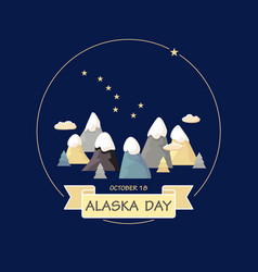 Alaska day mountains constellation ursa vector