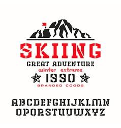 Angular stencil plate serif font vector