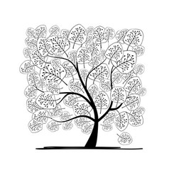 Art tree square for your design vector